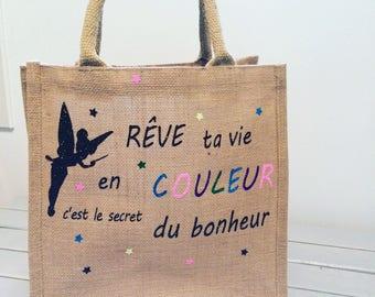 Bag jute Tote burlap bag personnalible several trendy size
