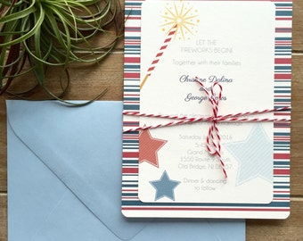 Americana wedding invitation, 4th of July Wedding, Americana rehearsal dinner invitation, red white and blue invitation, Labor Day party