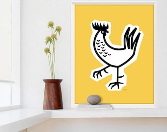 Large Rooster Poster, Restaurant Decor, Kitchen Decor, Chicken Art