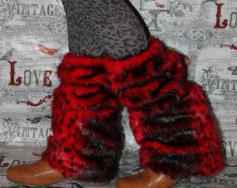 Red Leopard Print Fluffy Fur fur warmers leg boot warmers Winter