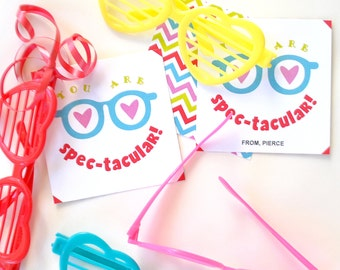 You are Spec-tacular Love Glasses Valentines Day Card Tags Instant Download Printable Editable PDF File