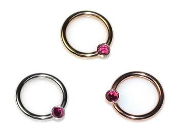 2mm Ruby Septum Ring Gold 14 gauge / Septum Piercing, Daith Piercing / Nipple Ring, Cartilage Hoop, Nose Hoop, Tragus Hoop, Rook Hoop