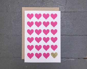 Glitter Heart Card - Set of 8