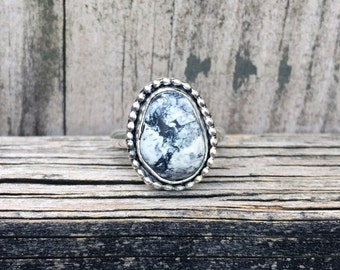 White Buffalo Turquoise Ring - White Buffalo - Turquoise Ring - Sterling Silver - One of a Kind - Gemstone Ring - White Buffalo Ring - Black