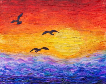 """Sunset - Original 24""""x24""""x1.5"""" Acrylic Painting/Mixed Media on Gallery Wrapped Heavy Duty Canvas"""