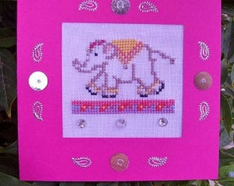 Hand embroidered card: Bollywood style Indian Elephant