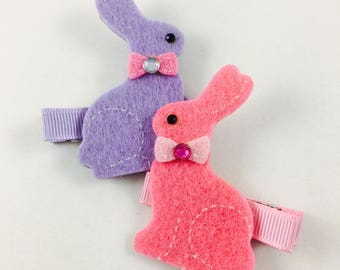 Easter Lavender and Pink Bunny Hair Clips - Easter Bunny - Purple - Small Hair Bow Set