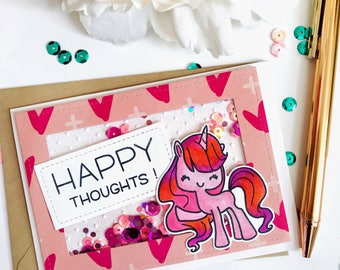 """Handmade Shaker Card with Copic Colored & Stamped Unicorn - Reads """"Happy Thoughts"""""""