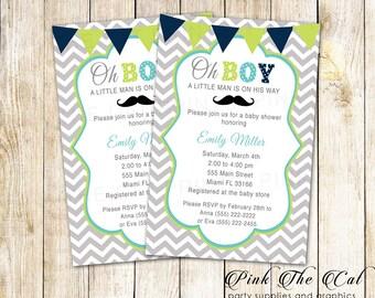 Mustache Baby Shower Invitation Oh Boy Invitation Little Man Invitation Blue Green Baby Shower Invitation Personalized Printable Invite