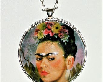 Handmade Bold Frida Kahlo Pendant Necklace