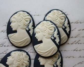 SALE 20% OFF 5 unset lady cameos - Ivory on black - 30x40mm