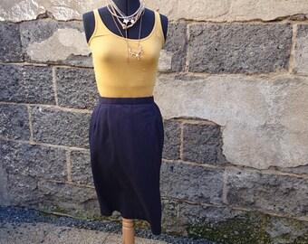 Vintage skirt, midi, vintage skirt blue skirt, straight skirt, blue skirt, cotton blue, Navy Blue, cotton Navy Blue, navy blue, cotton navy blue