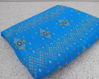 geometric on electric blue...vintage fabric yardage