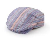 Baby Boy Blue & Pink Stripe Cotton Flat Cap | Alfie