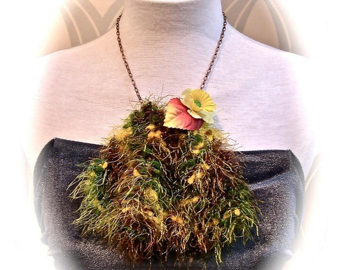Asymmetrical Bib Necklace - fabric statement necklace -textile crochet necklace - brutalist necklace - folral