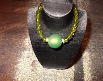 Peridots and green Lampwork bracelet