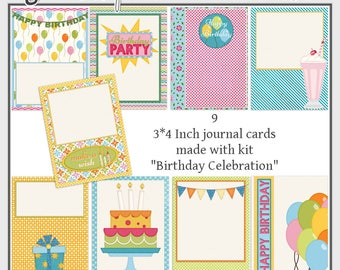 Birthday Digital Journal Cards, Scrapbooking Cards, Scrapbook Filler Cards, Celebration Scrapbook Embellishments, Cake Balloon Pocket Cards