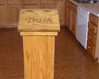 Kitchen Wood Trash Can Or Wastebasket Can Be Used For Pet Food Personalized  Lid Makes A