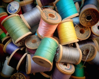 Sewing Room Decor - Craft Room Decor - Vintage Sewing Photograph - Sewing Thread - Colorful - Vintage Wooden Thread Spools - Wall Decor