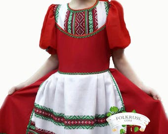 Traditional Belarusian suit, Belarusian girl costume, dance costume, scenic european costume, traditional poland costume