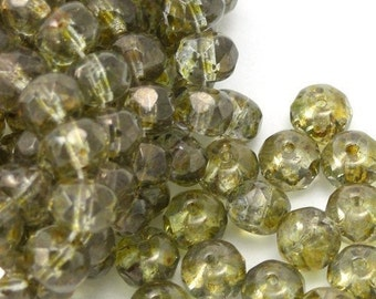 Czech Glass Firepolish Gemstone Donuts 4X6mm Luster Transparent Gold Smokey Topaz (25) CZF103