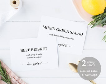 printable buffet label template buffet food sign buffet labels food stations instant download editable pdf rustic wedding bon appetit