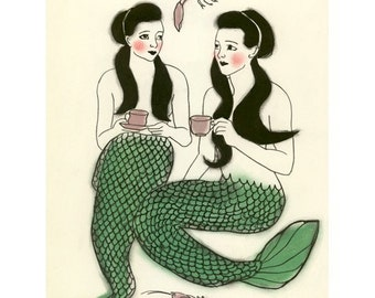 Mermaid art - Crustacean cafe  -   8.3 X 11.7 mermaids print - 4 for 3 SALE
