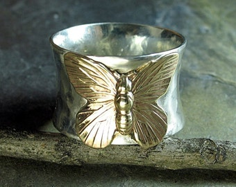 Butterfly ring sterling silver wide band brass handmade metalwork metalsmith nature jewelry - On Golden Wings