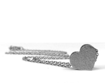 Small Silver Heart Necklace, Stainless Steel Jewelry, Gift for Girlfriend, Love Jewelry, Push Present, Pendants