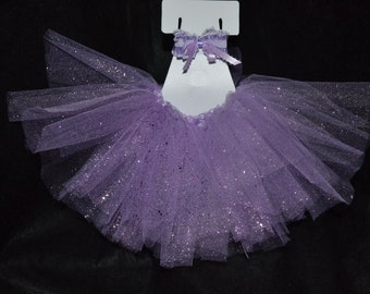 Angel Purple Sparkling Pet Tutu with Matching Bow