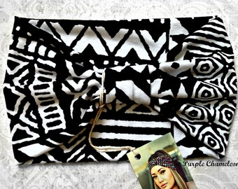 Black and White Tribal Print Turban WRAPsody Head Wrap Headband Knit Headwrap Yoga Headband Running Headband Hair Cover Gifts for Her