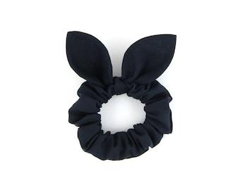 Knot Bow Hair Scrunchie Black