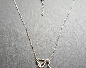 silver double heart necklace, two hearts necklace, eco silver necklace, silver love hearts necklace, double heart necklace