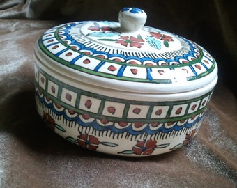 Vintage Ceramic Islamic Turkish Ottoman Kutahya Persian Covered Dish