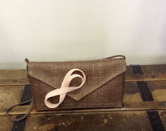 Clutch wedding sisal taupe and pink powder