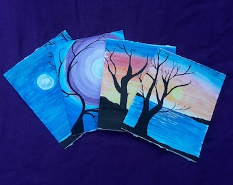 Hand Painted Sunset and Moonlit Watercolor Cards | Blank Inside Tree Silhouettes at Sunset and in Moonlight Cards | Set of 4 HandDrawn Cards
