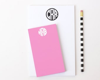 Monogram Notepad Personalized Note Pad Girls Office Supplies Circle Monogram School Supplies Teacher Notepad Bridesmaid Gifts Pink Desk Set
