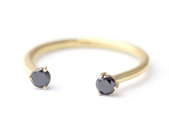 Diamond Cuff Ring, Black Diamond Wedding Ring, Dual Stone Ring, Open Ring, Gold Horseshoe Ring, Black Diamond Ring, Diamond Horseshoe Ring