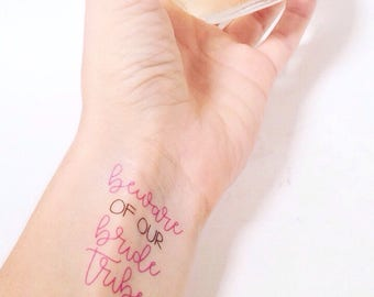 Beware Of Our Bride Tribe Bachelorette Party Temporary Tattoos, Bride Tribe Tattoos, Bridal Party Tattoos, Bachelorette Party Favors, Tattoo