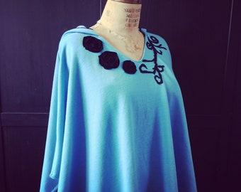 Hooded Poncho Elven Clothing Sky Blue Merino Wool Fairytale Lagenlook Strega Fashion