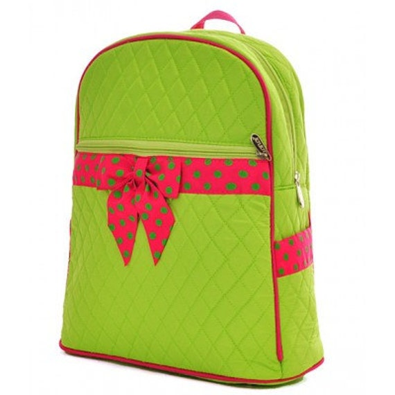 Lime & Fuchsia polka dots Quilted solid backpack. Book bag. Customize. Personalize. Monogram.