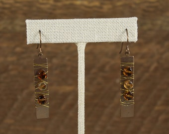 Amber (Copper, Amber) earrings