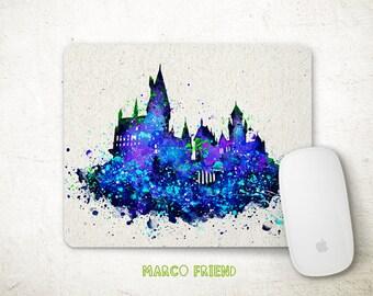 Harry Potter Mouse Pad, Hogwarts School Castle, Watercolor Painting, Mousepad, Mouse Mat, Office Decor, Desk Accessories, Kids Gift, P365