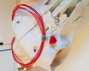 Short choker necklace with Pearl Heart