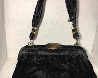 Mini Black Velvet Purse
