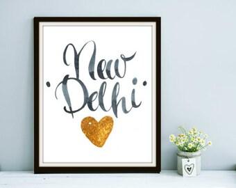 Travel Series: New Delhi - India, New Delhi India, New Delhi Art, India Art, India Wall Art, India Prints, India Travel Art, Travel Art