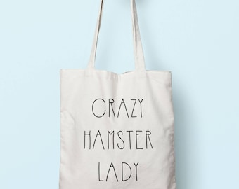 Crazy Hamster Lady Tote Bag Long Handles TB00389