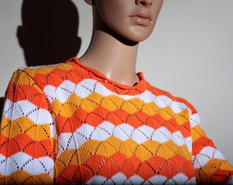 sweater 70 s orange yellow white