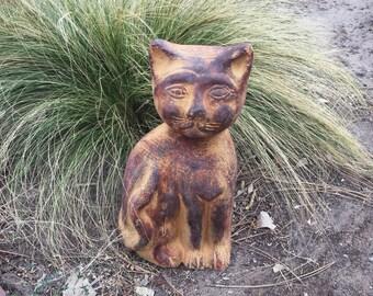 Heavy Terracotta Ceramic Cat Garden Statue, Cat Door Stop, Garden Art, Outdoor Statues