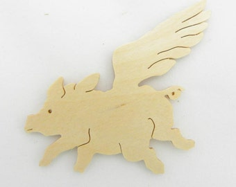 Flying Pig, When Pigs Fly, Wood Flying Pig, Wooden Flying Pig, Flying Pig Magnet, Flying Pig Cut Out, Flying Pig Pin, Flying Pig Ornament